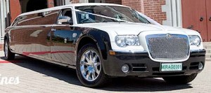 Mirage Limousine hire Perth. Pearl Black on White Chrysler 300C Wedding Cars Perth